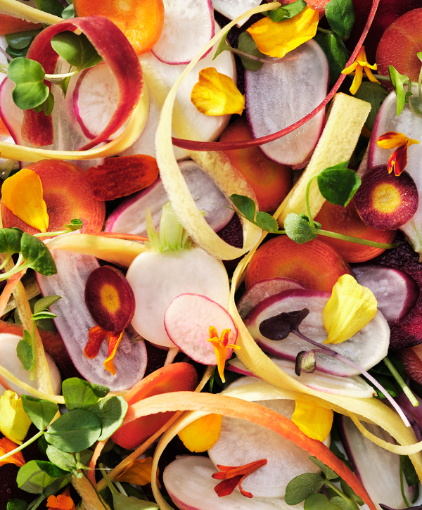 ribboned vegetable root salad colourful edible flowers carrots radishes