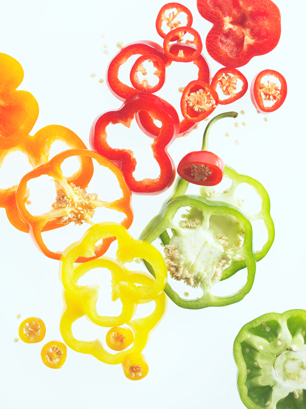 colourful fresh vegetables green red yellow orange peppers