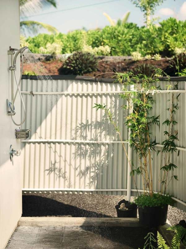 outdoor shower in tropical environment greenery folliage