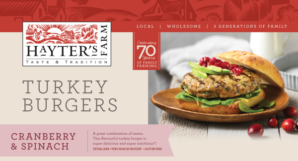 hayter's farm turkey burger packaging with avocado and cranberry