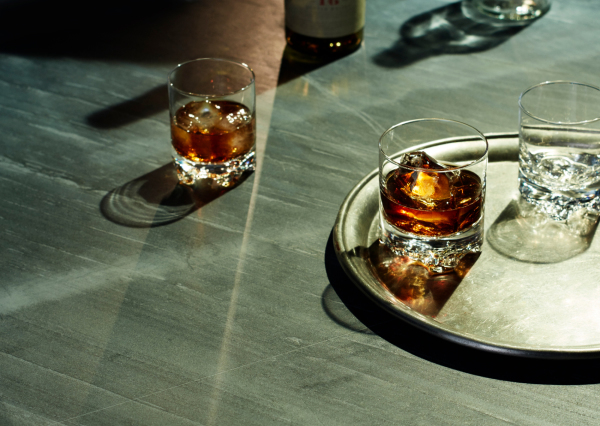 bourbon on the rocks in a tumbler