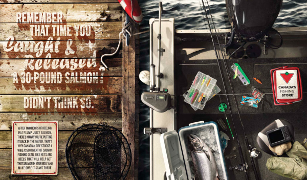 Canadian Tire fishing gear flat lay on boat and dock