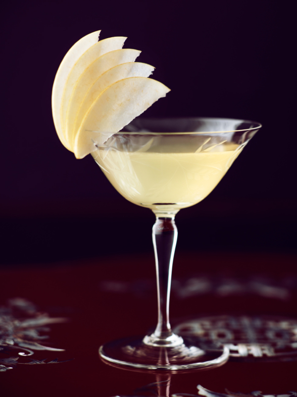 pear cocktail with garnish in vintage glassware
