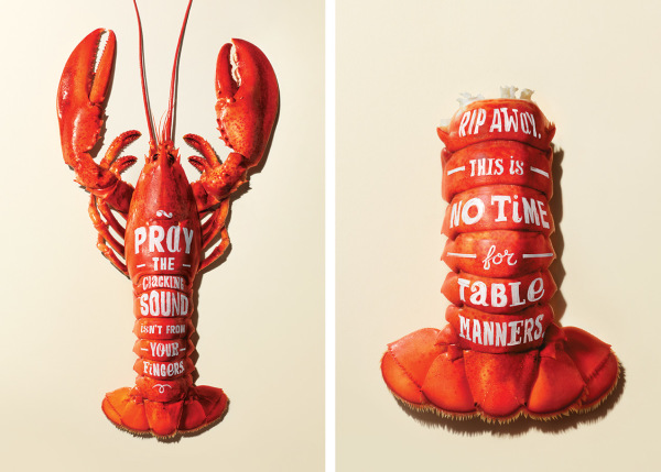 Descriptive text with the use of sound and taste invoking imagery written on lobster