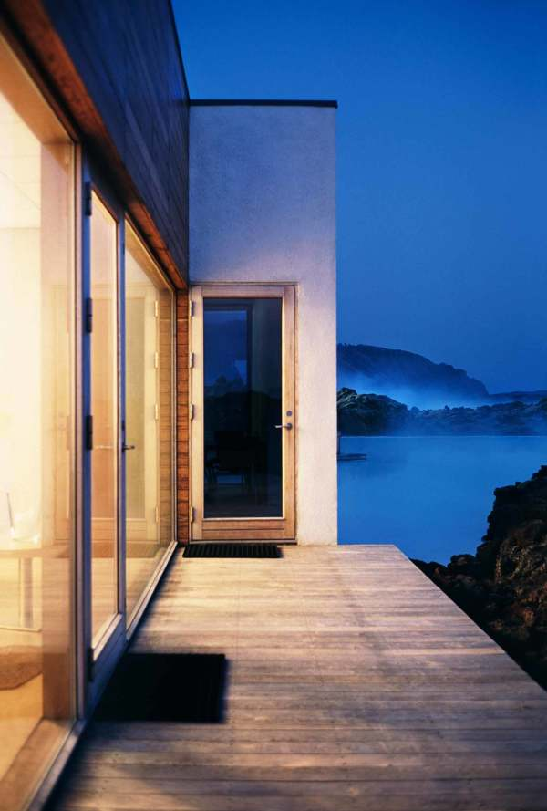 exterior dock deck of cottage spa in iceland
