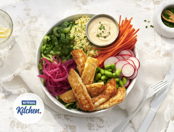 seared halloumi cheese in a veggie bowl healthy eating