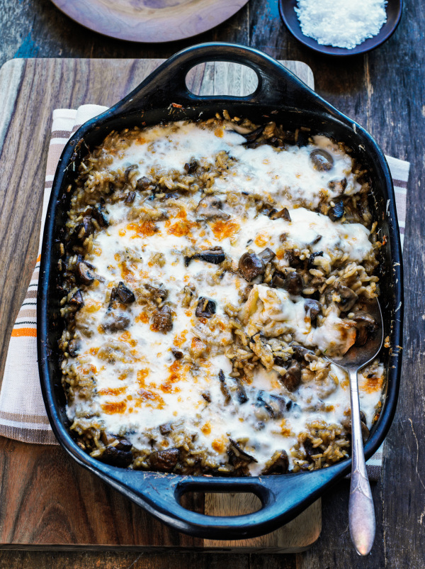 baked mushroom risotto with cheese