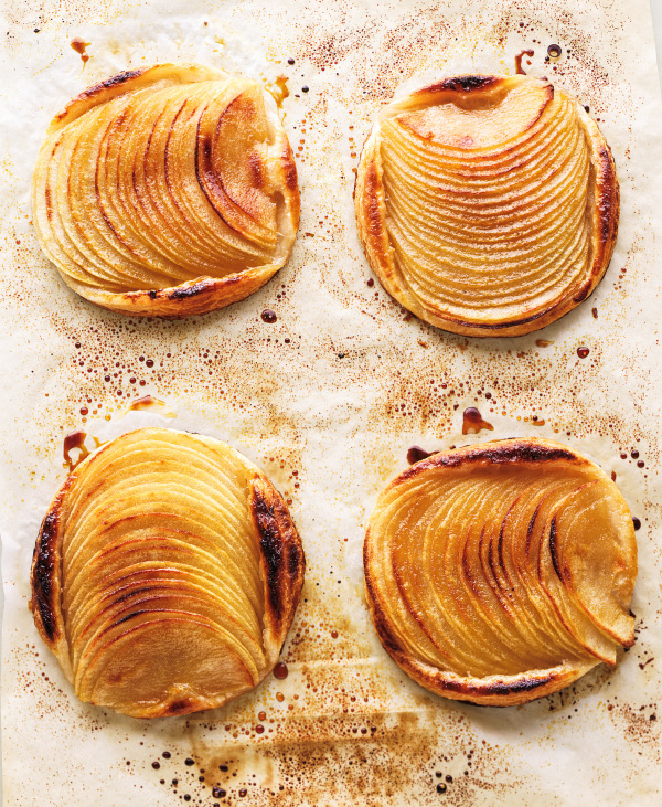 baked sliced apple on parchment
