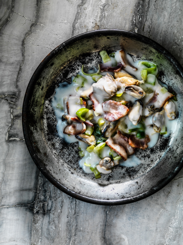 Creative with Christopher St. Onge bacon mussels leeks in white sauce