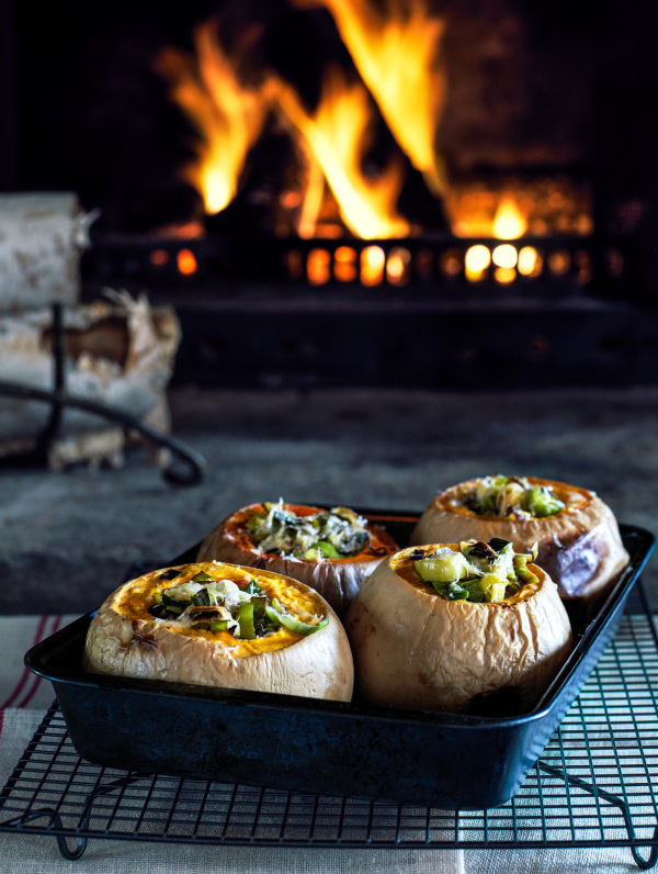 Baked squash by the fireplace