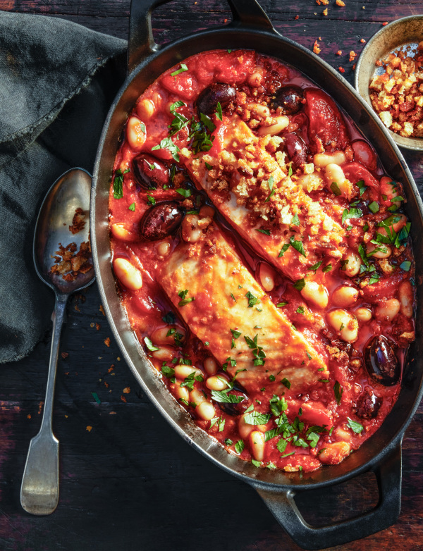 Rock Harbour baked cod in tomato sauce with canelli beans and olives