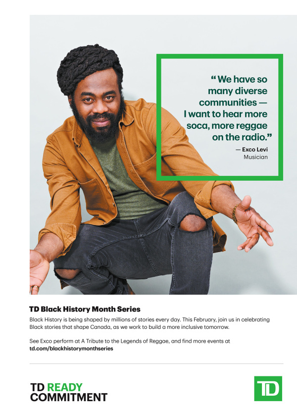 advertisement - TD bank celebrates black history month with exco levi