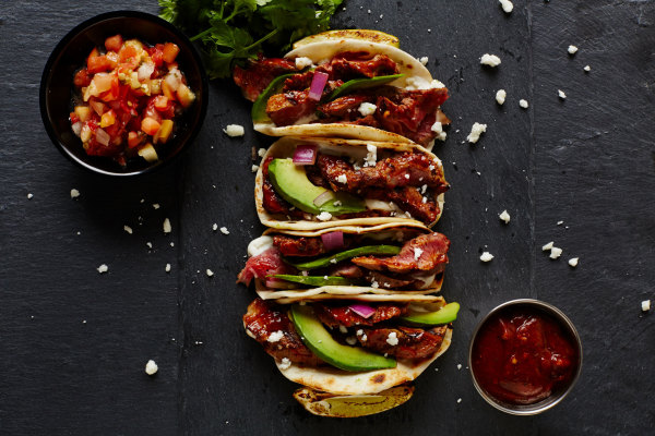 Soft tacos with chicken and avocado