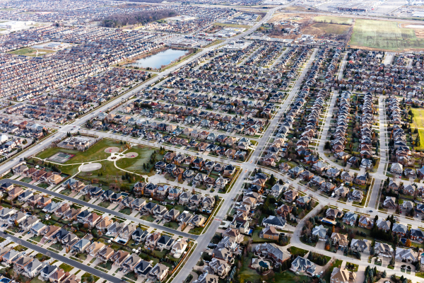 aerial view of large suburb