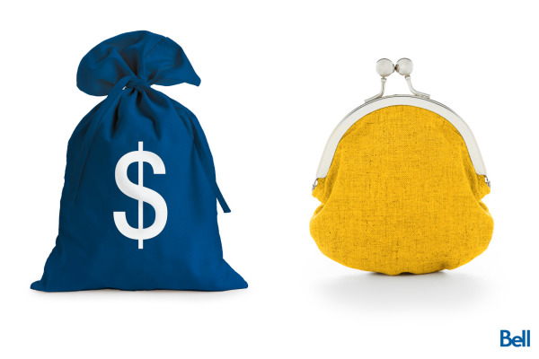 blue bag with dollar sign on the left yellow old fashioned coin purse on right