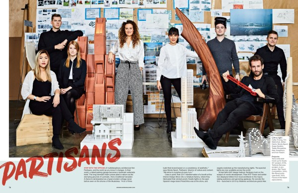 designlines article on partisans architecture firm featuring picture of team with their designs