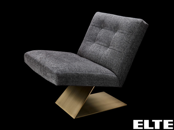 a soft grey chair on an angular wooden base from ELTE