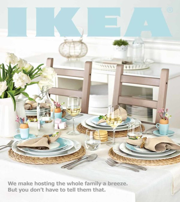 cover page of IKEA magazine Easter flyer featuring a table with brown chair and blue and white place settings