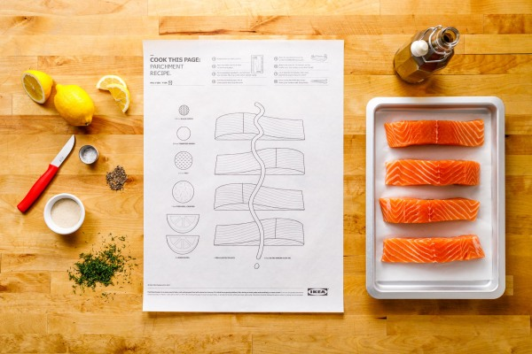 IKEA parchment recipe for no. 1 fish featuring 4 pieces of raw salmon on tray next to lemon and various spices