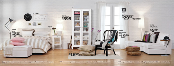 full page spread from IKEA magazine featuring room with white brick wall and various pieces of furniture