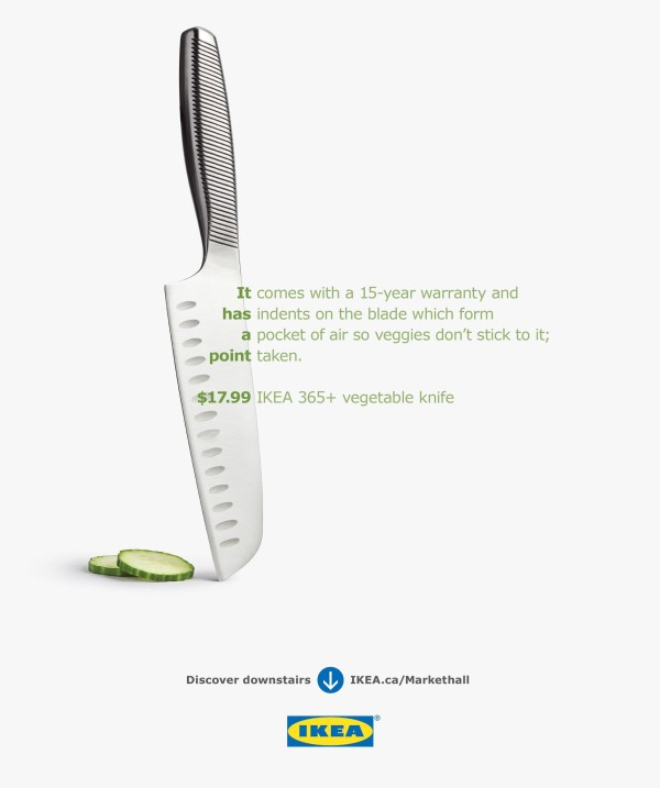 advertisement from IKEA magazine showing sliced cucumber next to sharp knife standing on its point