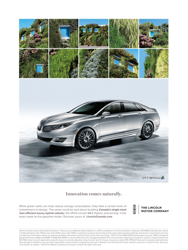 advertisement for Lincoln Hybrid showing car and various smaller images of overgrow windows