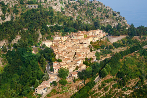 hillside village in monaco surrounded by trees and mountain