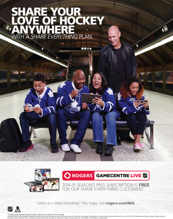 Mark Messier leans over a group of diverse Leafs fans watching handheld devices while waiting for a subway