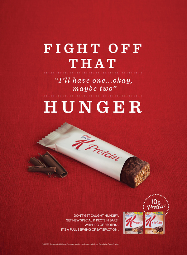 Special K chocolate protein bar in wrapper on red background tagline says fight off that hunger