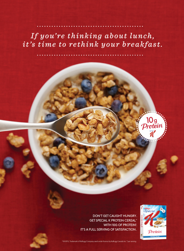 a bowl of Special K Protein cereal with blueberries