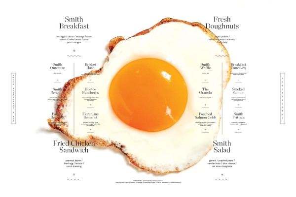 A crispy sunny side egg and the breakfast menu at the Smith Restaurant
